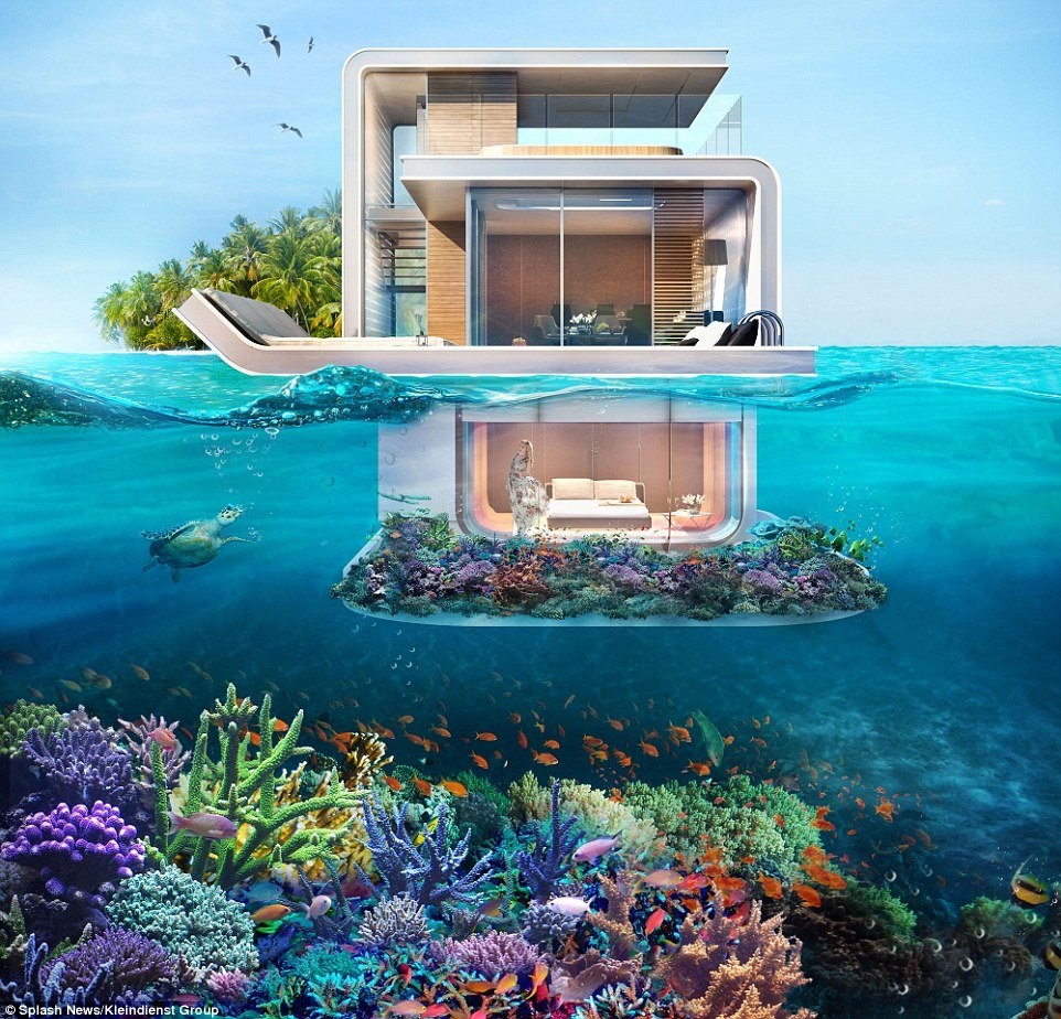 Floating underwater house with coralgarden