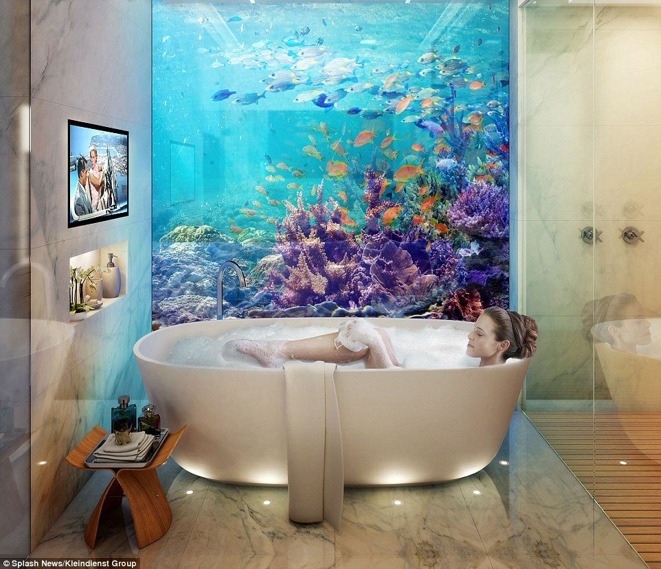 Floating underwater houses -Bathroom