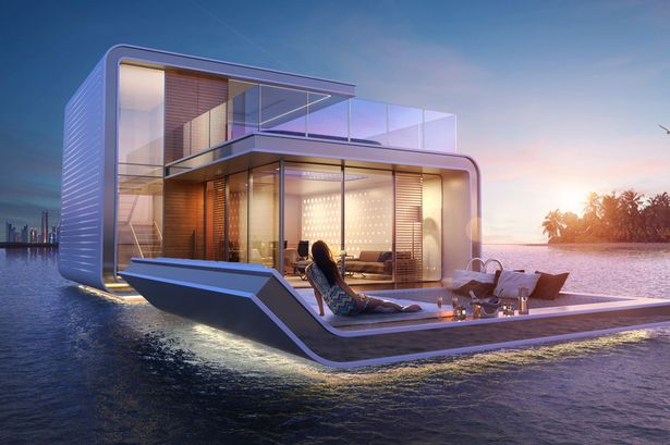 Floating underwater house
