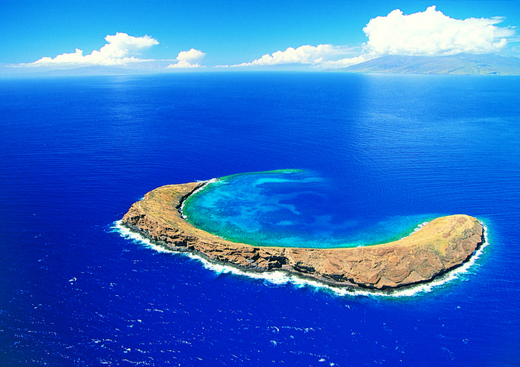 Molokini crater aerial view