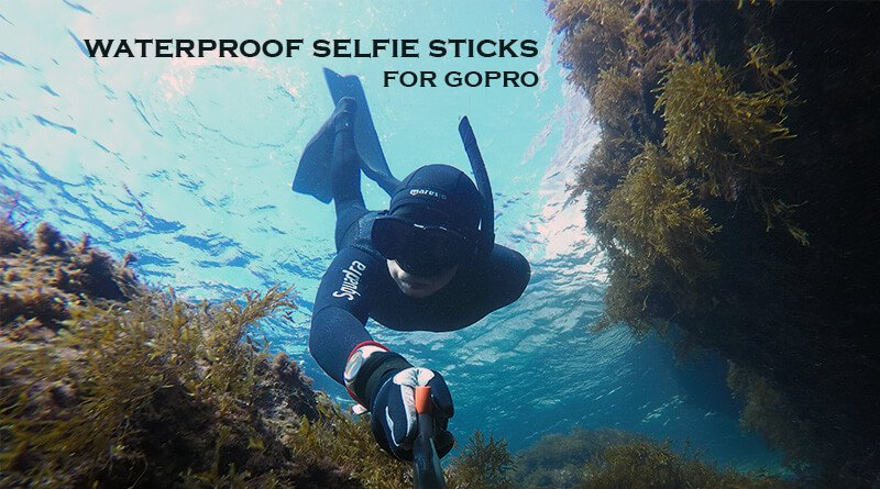 Freediving with salt waterproof selfie stick and GoPro