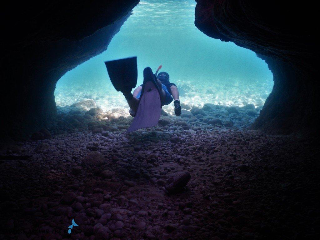 Sv Marak snorkeling in cave