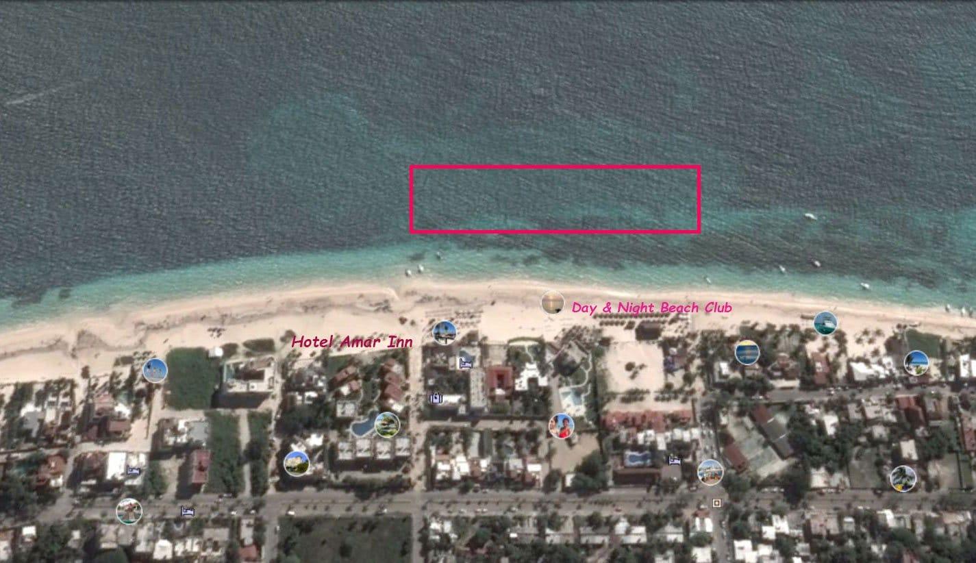 Puerto Morelos shore snorkeling map