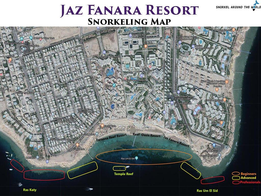 Jaz Fanara snorkeling map