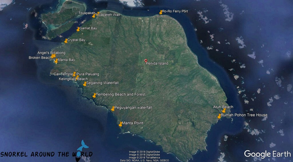 Best points of interest Nusa Penida Map