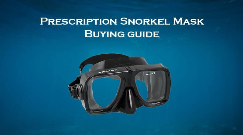 Prescription snorkel mask with blue background
