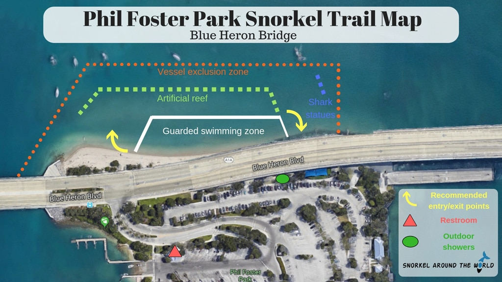 Phil Foster park - Snorkeling map