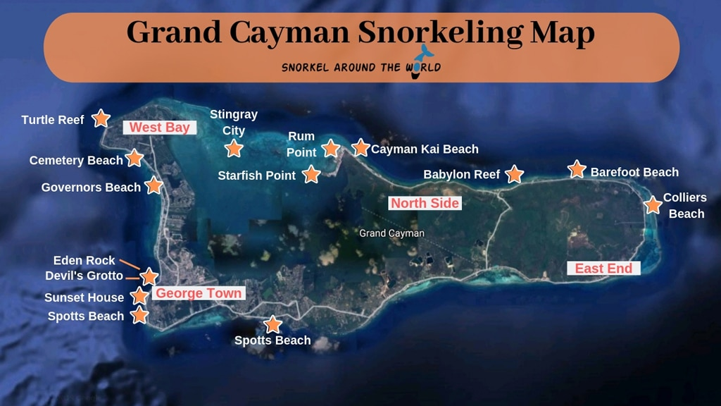 Grand Cayman snorkeling map