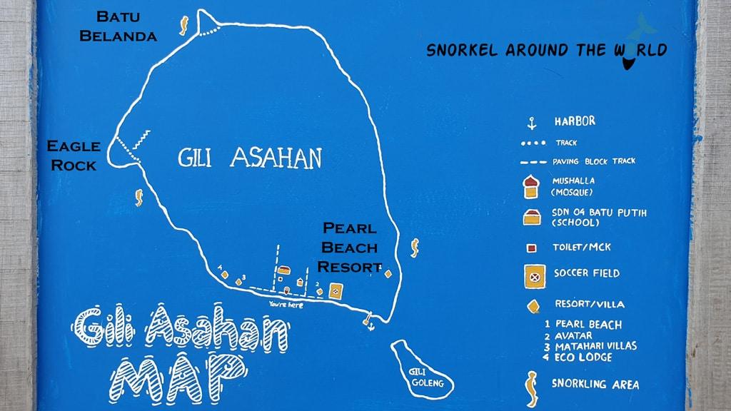 Gili Asahan snorkeling map