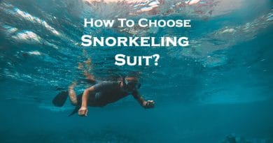 A man swimming in snorkeling suit