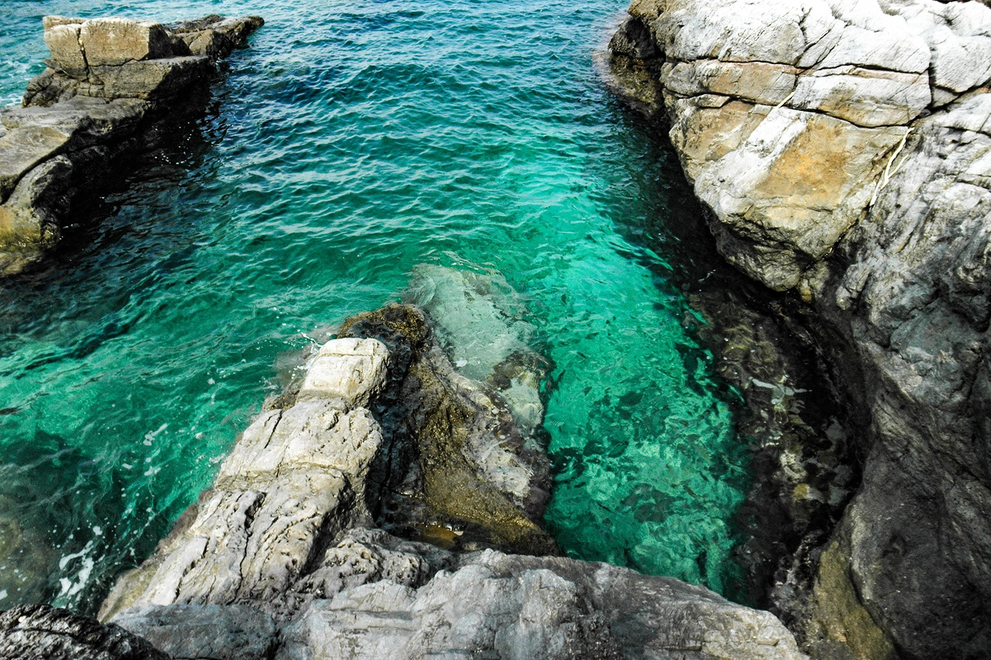 Clear water at Sainte Marguerite Island - France
