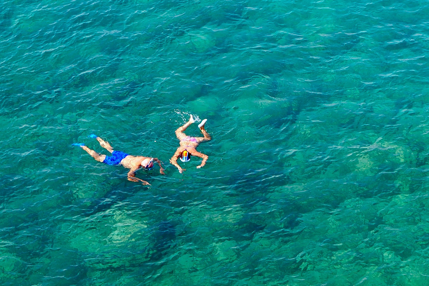 Woman and man are snorkeling wearing water shoes