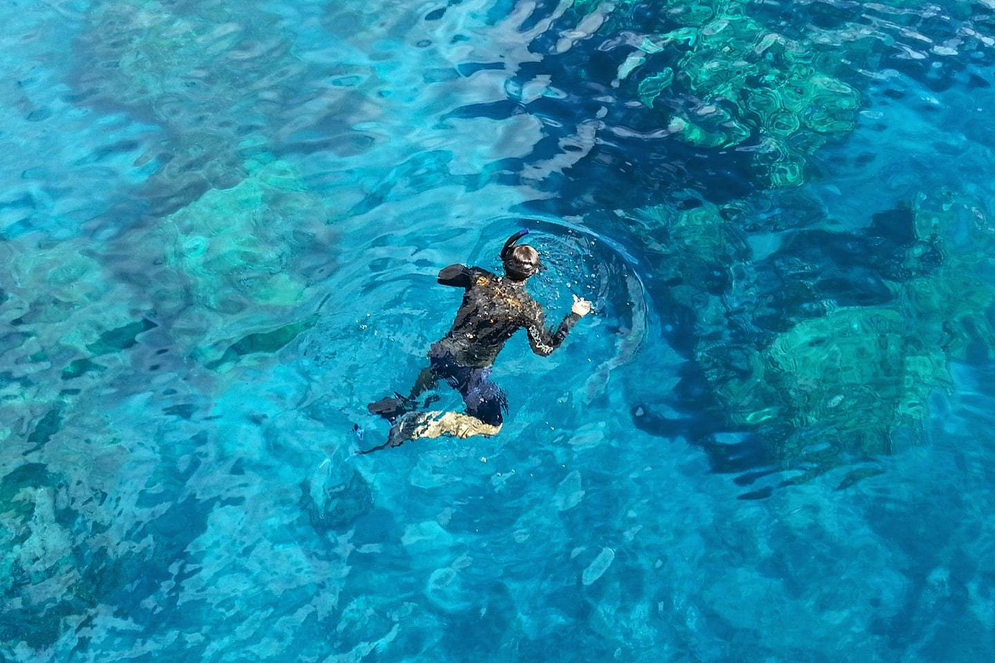 Snorkeling in UV protection clothing