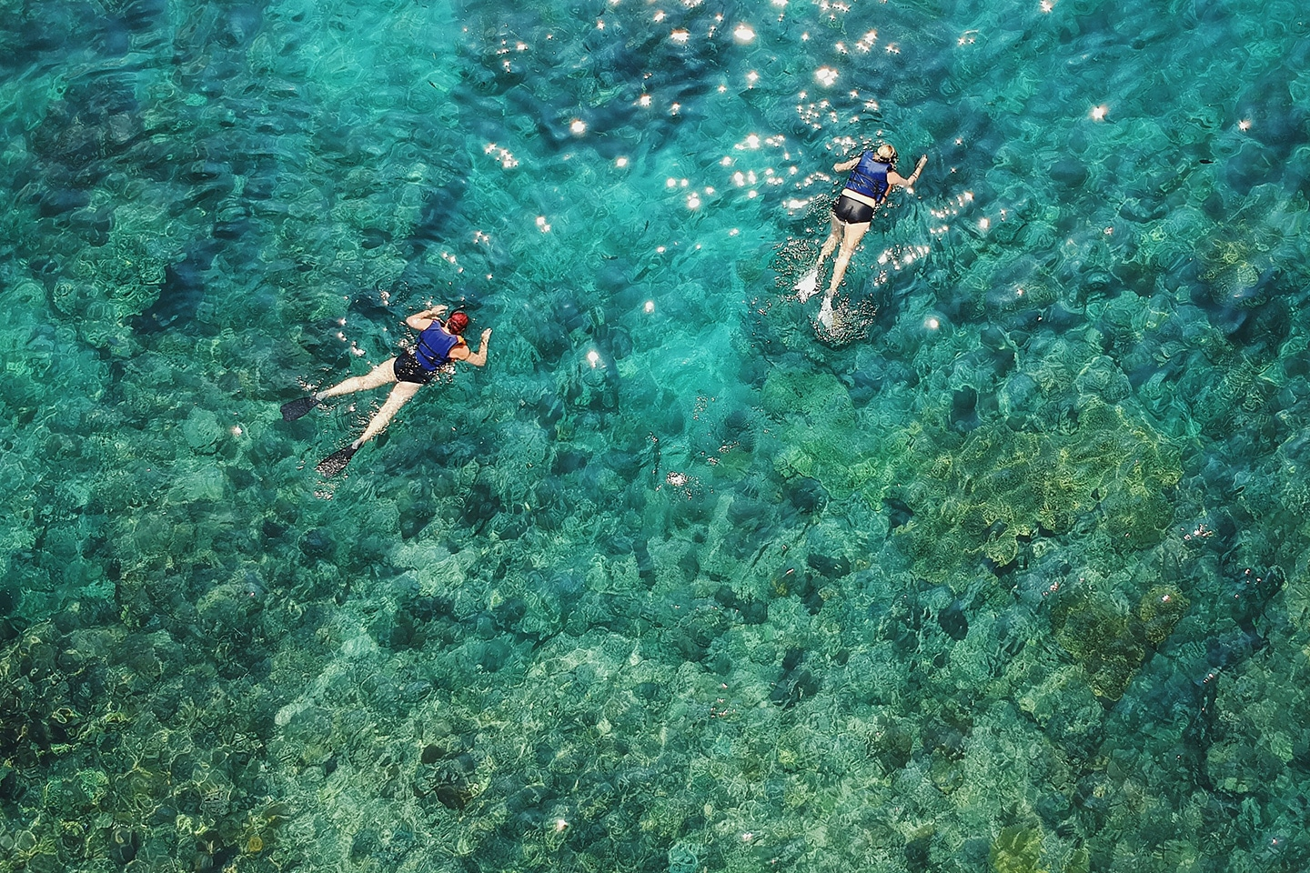 two persons are snorkeling