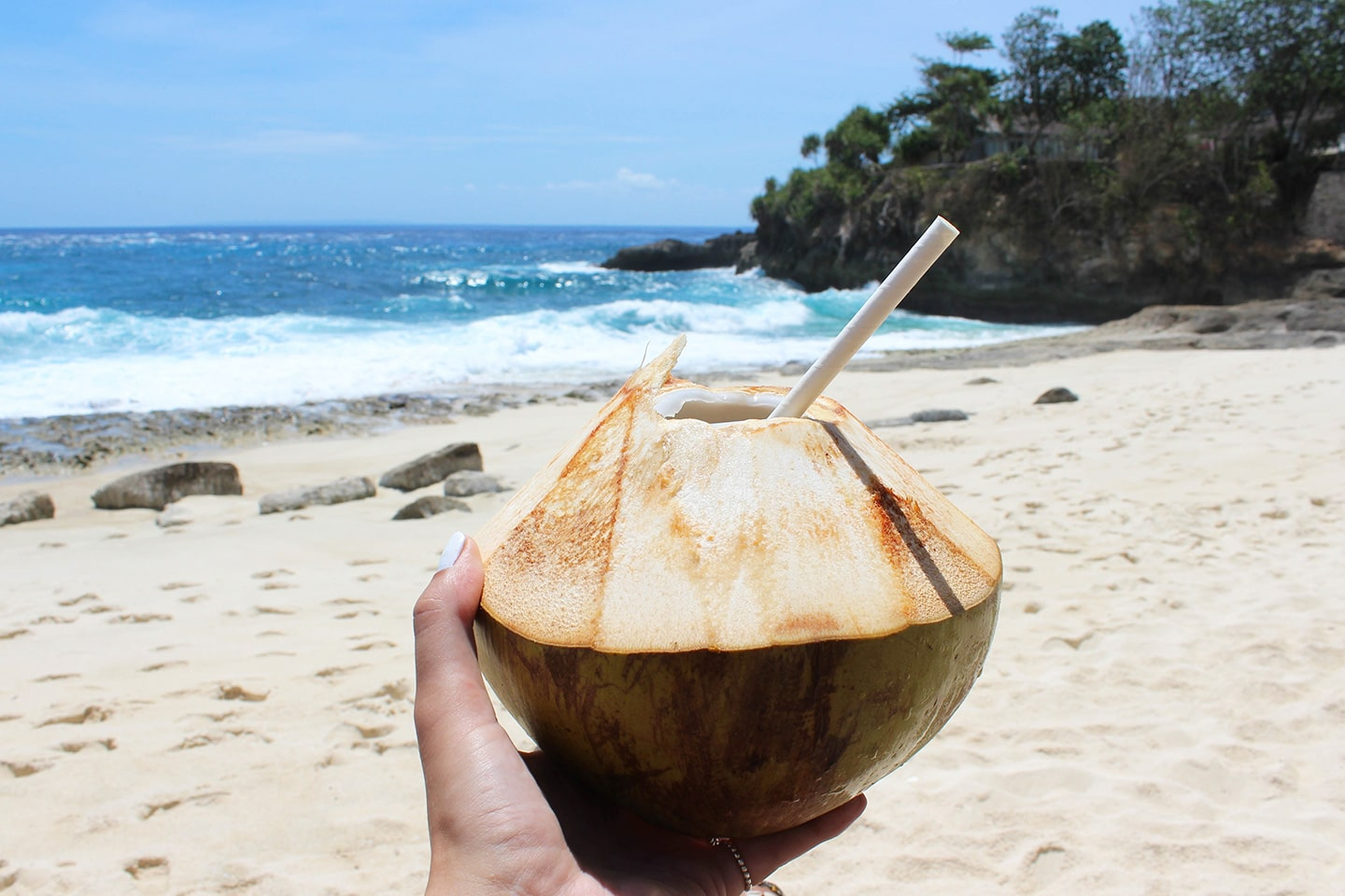 person holding a young coconut on the beach