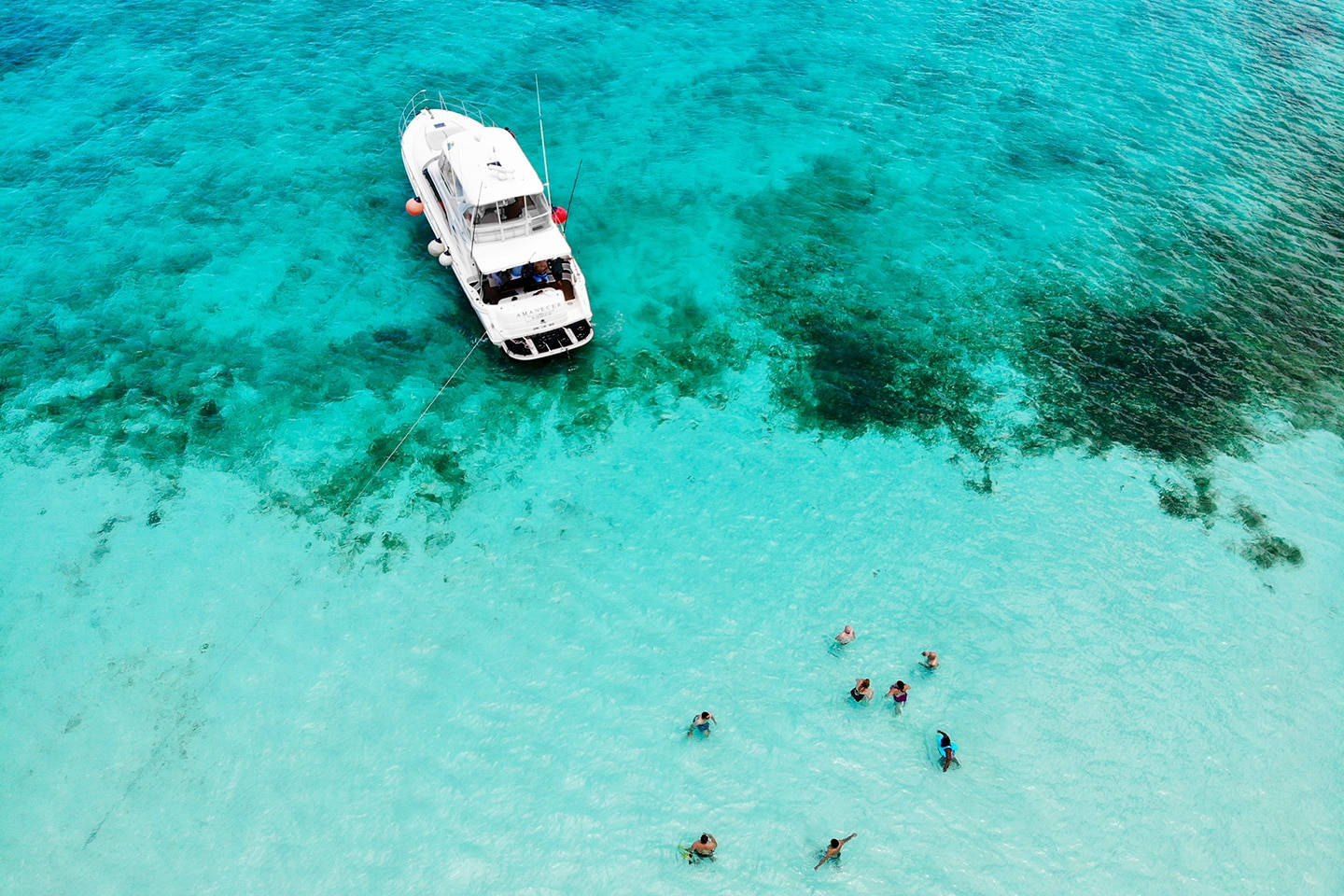 Boat stops at a sandbank in Mexico