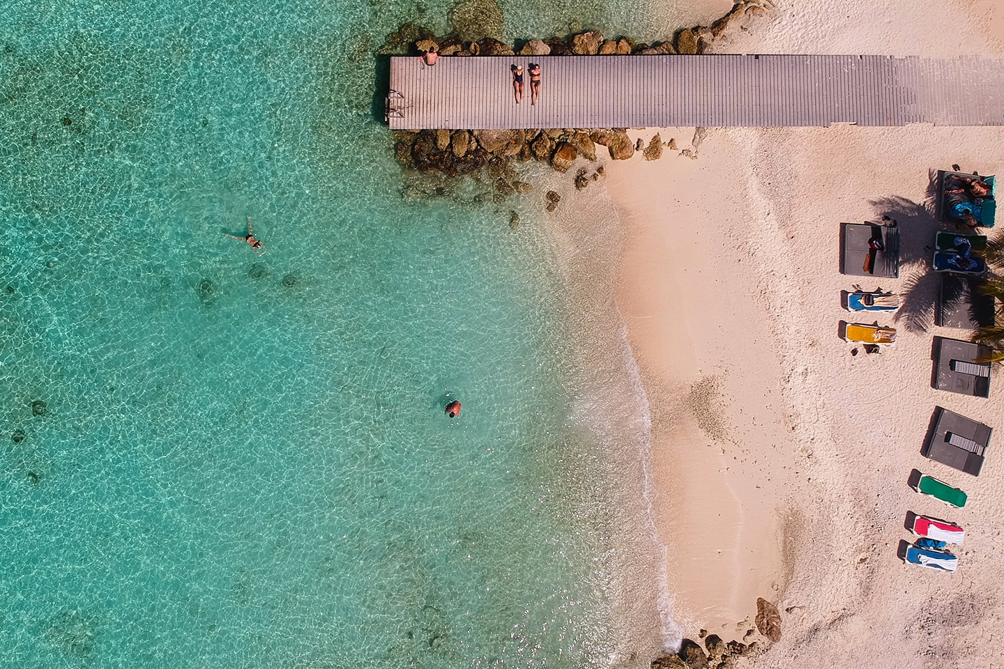 Drone shot of a beach in Curacao