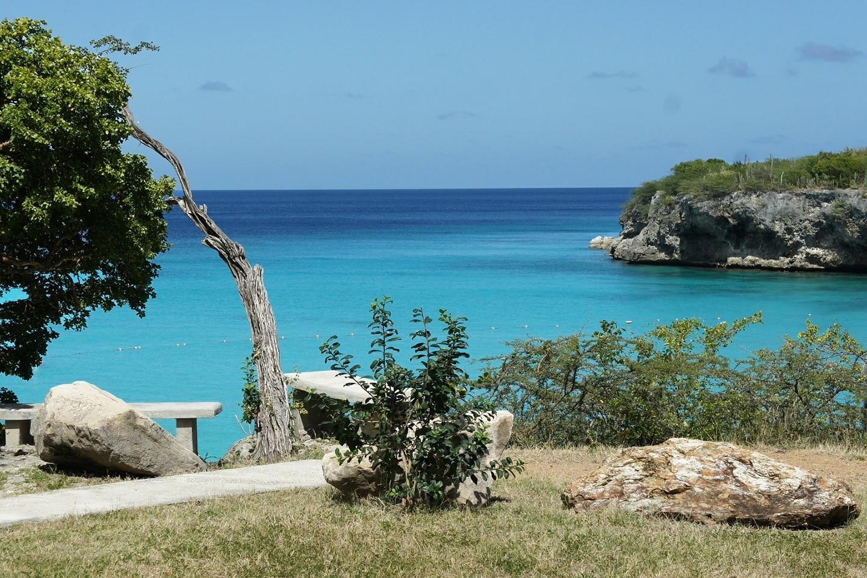 rocky beach in Curacao island