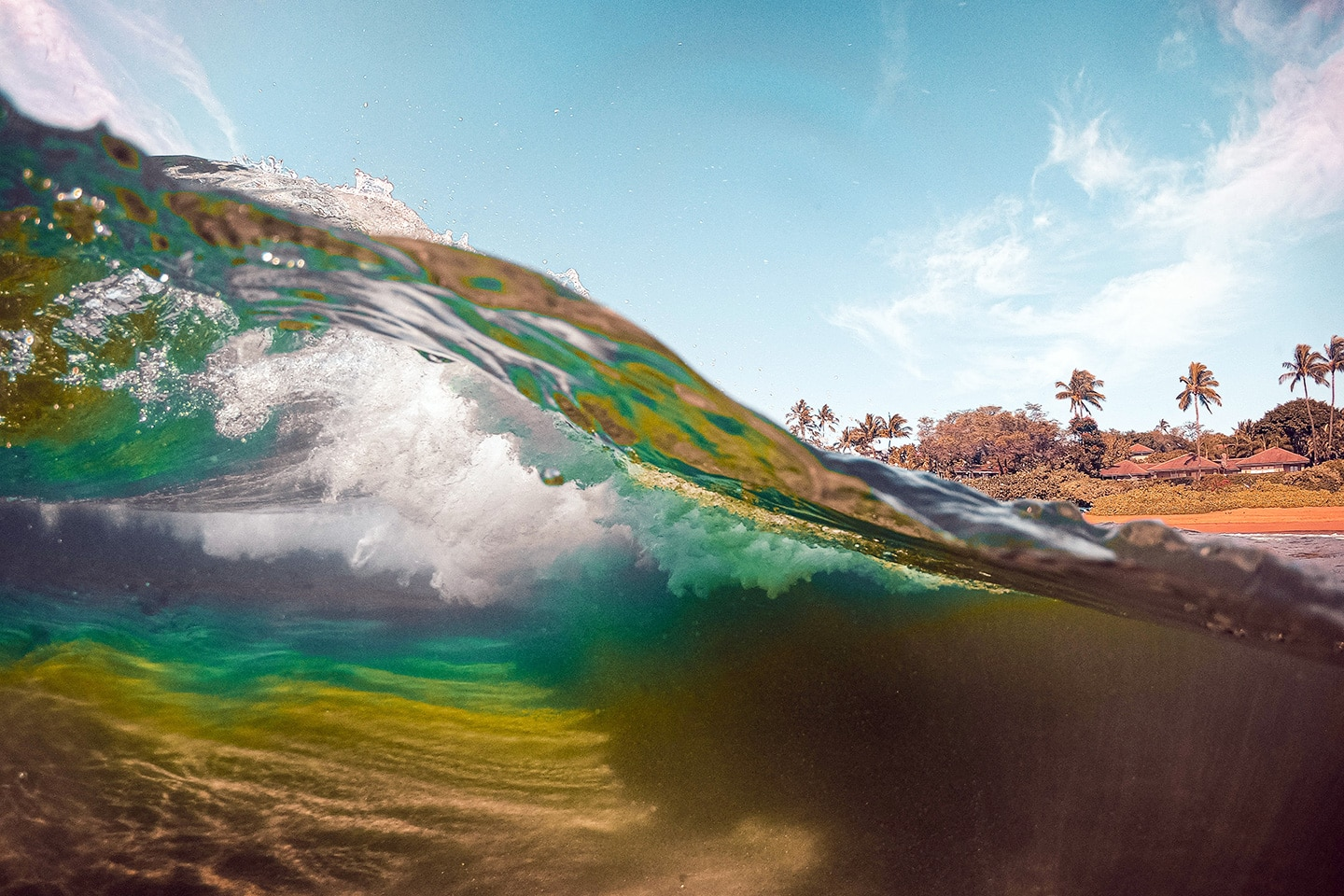 half underwater photo with waves and the beach in the background