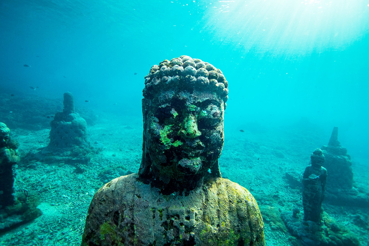 underwater buddha statue in Indonesia