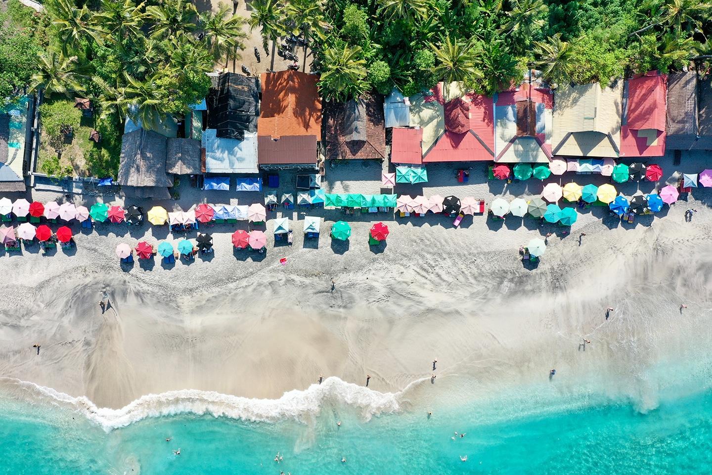 White sandy beach aerial photo
