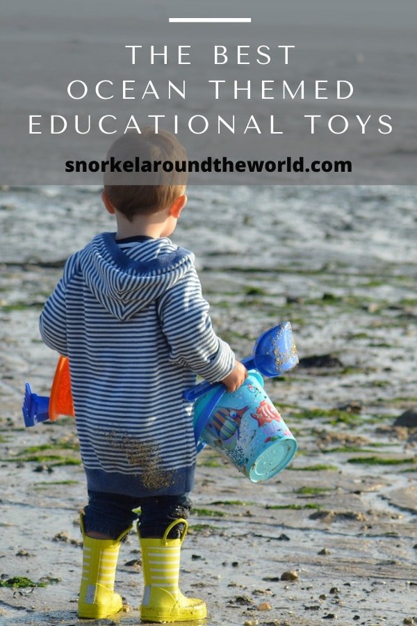 small boy on the beach with toys