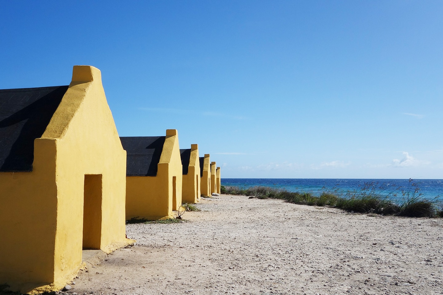 Old slave houses in Bonaire near pink beach