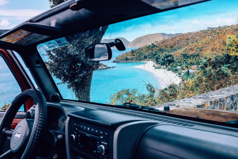 St John sandy beach from the car