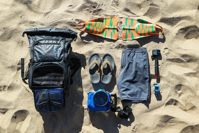 waterproof backpack and snorkel gear