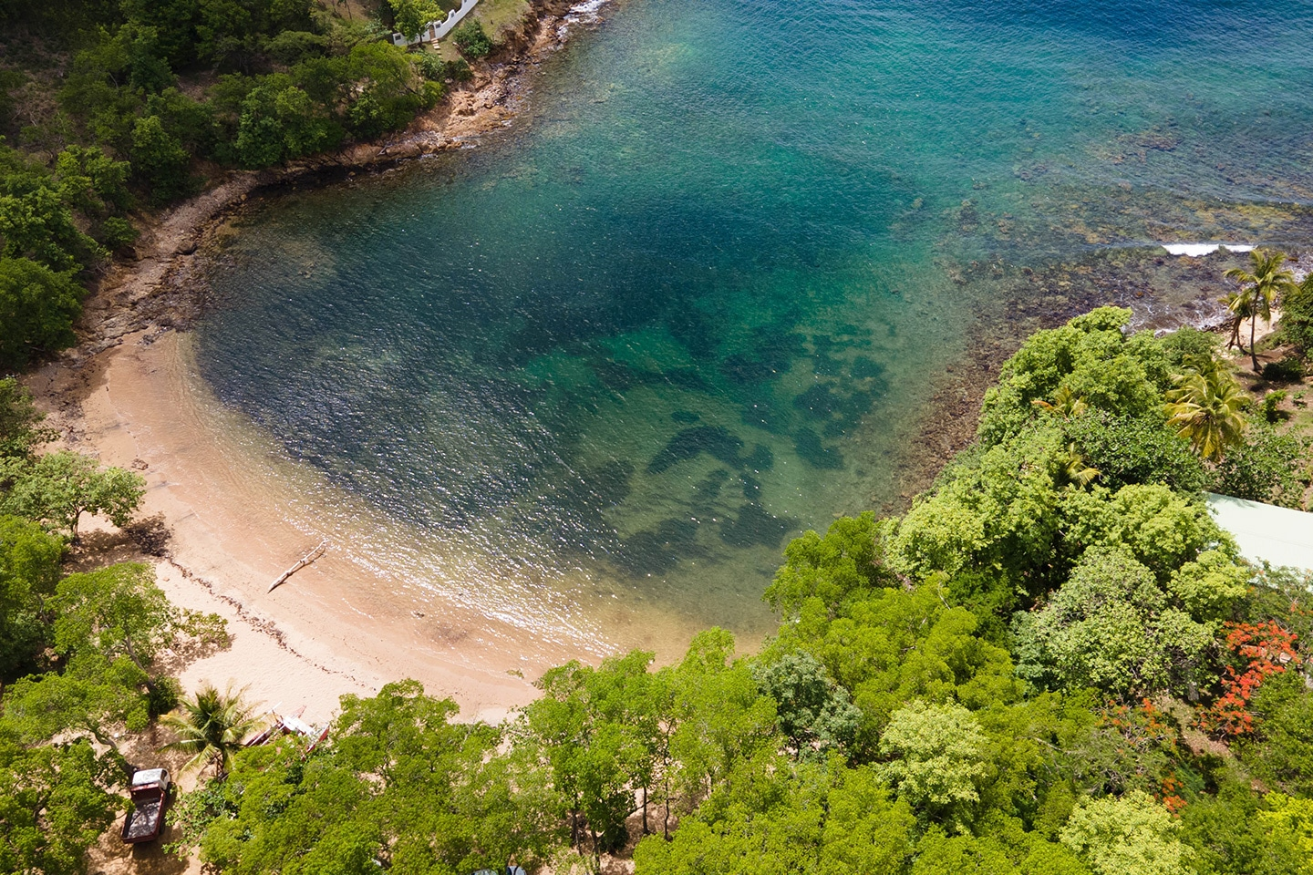 Secluded bay in St Lucia
