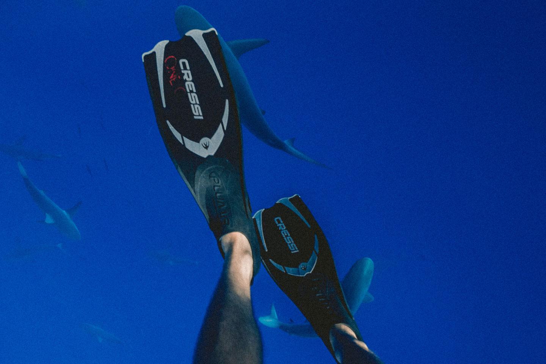 Closed foot snorkeling fins