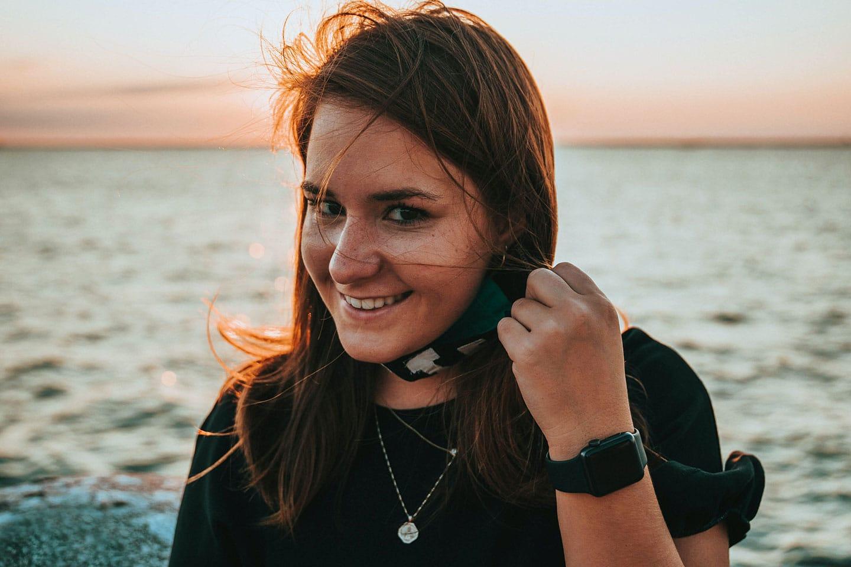Girl wearing apple watch