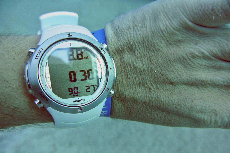 Waterproof watch underwater