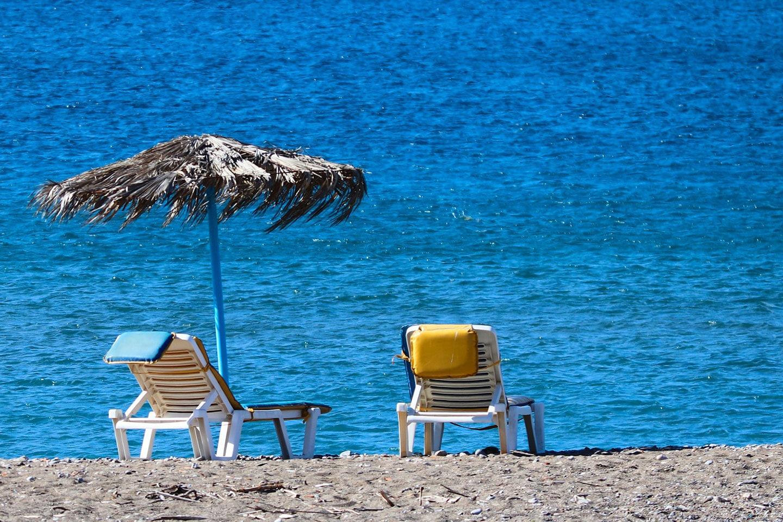 Sunbeds at Stegna beach - Rhodes