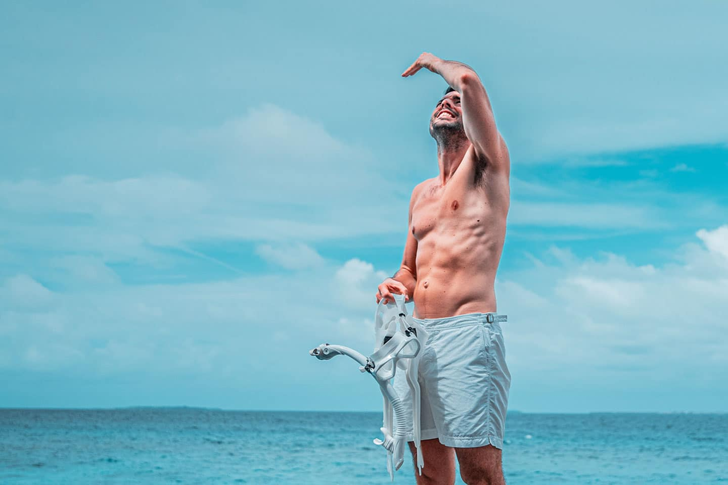 Man checking the weather conditions before snorkeling