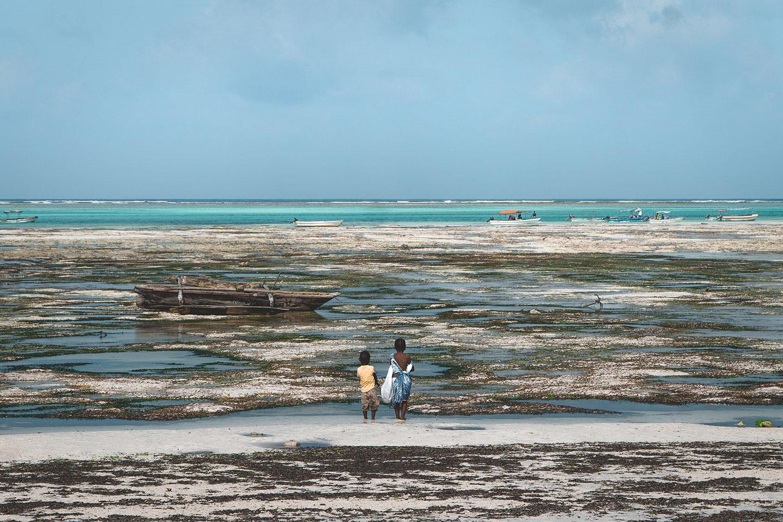Ocean at low tide in Zanzibar
