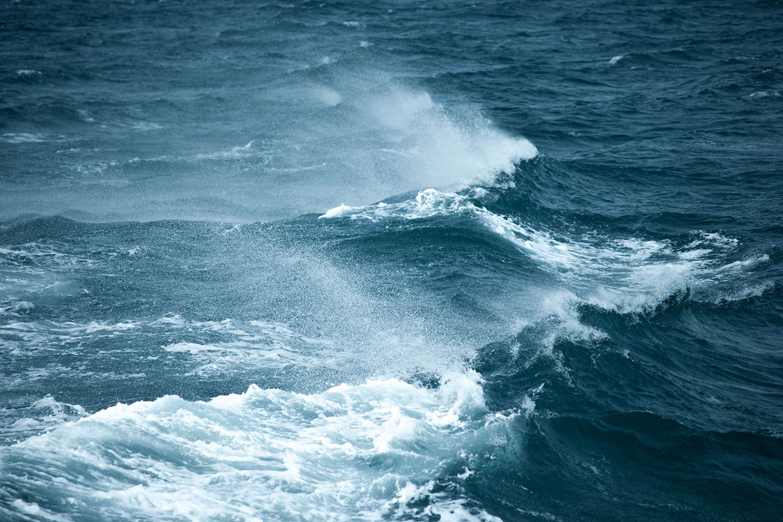 Wavy windy ocean